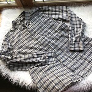 John Varvatos Black Gray Checked Dress Shirt XXL